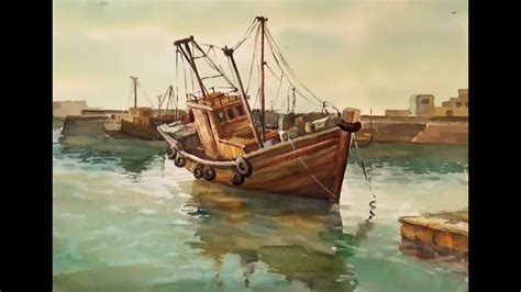 boat paint pictures watercolor painting fishing boats on sea youtube