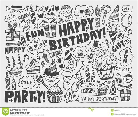 doodle 4 birthdays doodle birthday background stock image image 34054521