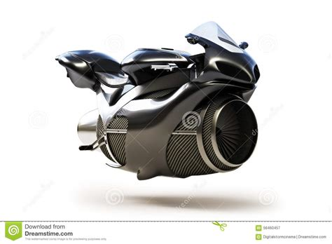 black white futuristic black futuristic turbine jet bike stock illustration
