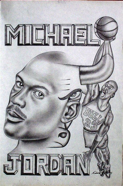 michael jordan double exposure drawing by rick hill