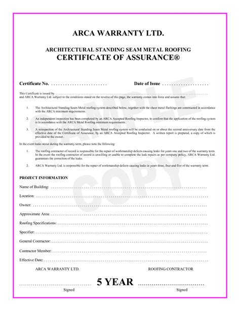 roof certification template 9 best images of roofing inspection certificate