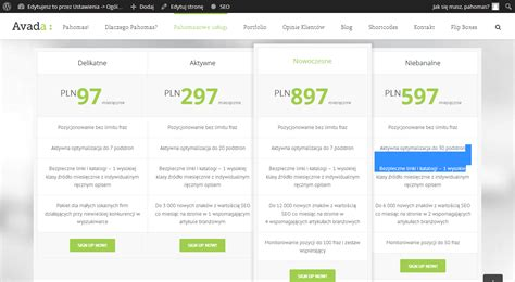 Avada Theme Pricing Table | php pricing tables in avada template adding links to