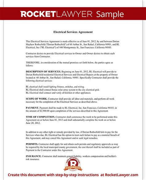 Electrical Service Contract Agreement With Sle Free Electrical Service Contract Template