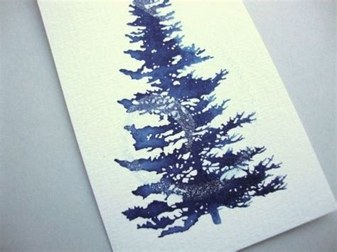 acrylic painting evergreen trees pine tree gift tags navy blue with acrylic