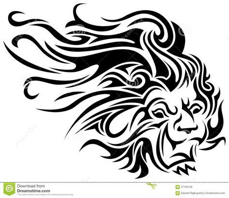 lion tribal tattoo stock vector image 57106746