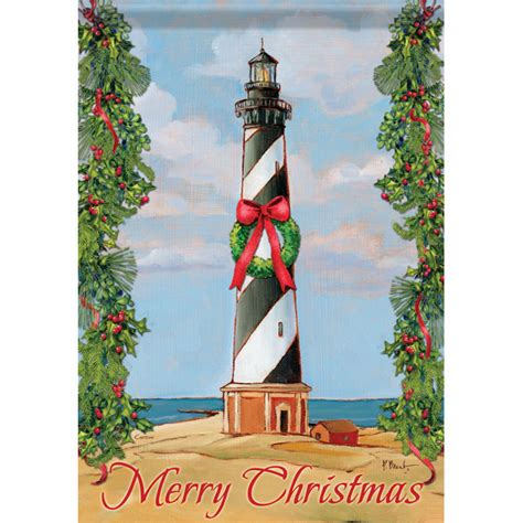 beach christmas lighthouse garden flag