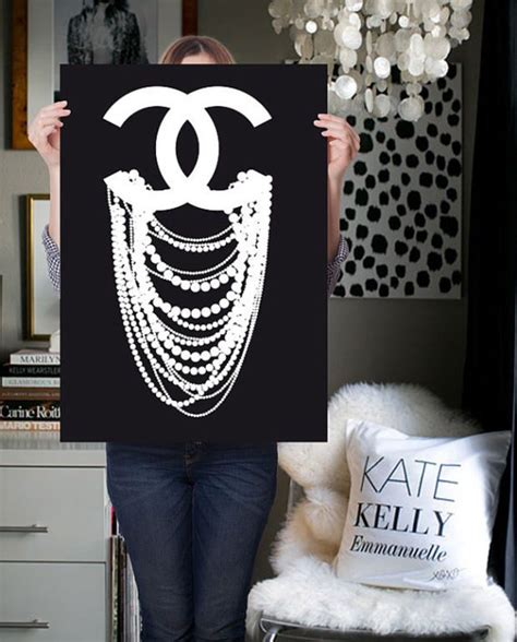 chanel print poster inspired cc dripping pearl  polyvore decor images drawing room  coma