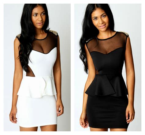 2351peplum Mini Dress High Quality With Necklace studded mesh design peplum dress in white and black on luulla
