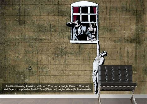 Urban Wall Stickers window lover cheaters banksy wallpaper printed wall paper
