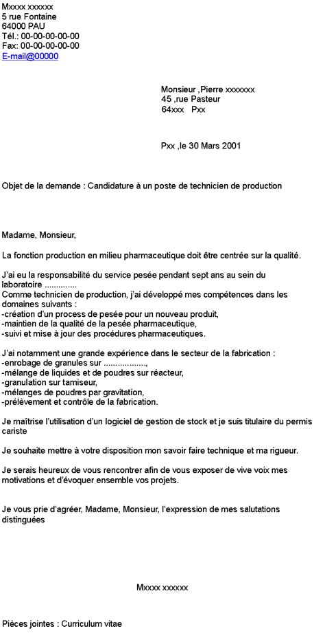 candidature 224 un poste de technicien de production