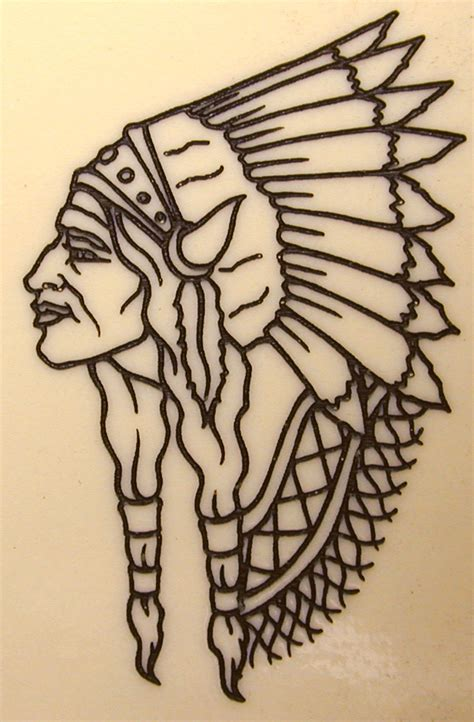 indian head tattoo skull shield skull