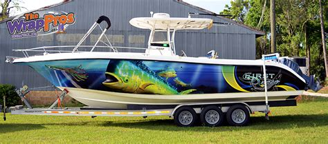 installing vinyl wrap on boat fish boat wrap install bb graphics the wrap pros