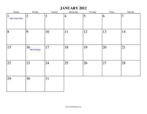 January 2012 Calendar January 2012 Calendar