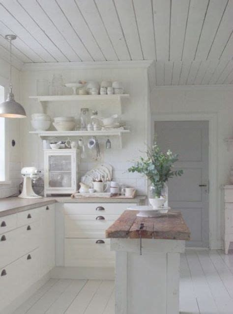 Rustic White Kitchen Cabinets - 32 sweet shabby chic kitchen decor ideas to try shelterness