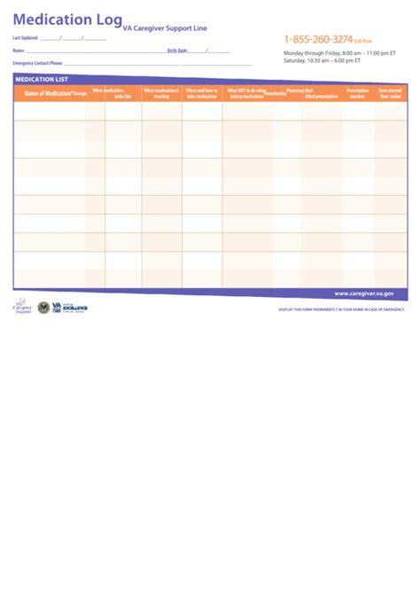 fillable medication log template printable