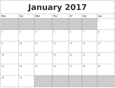 printable calendar jan 18 january 2017 blank printable calendar