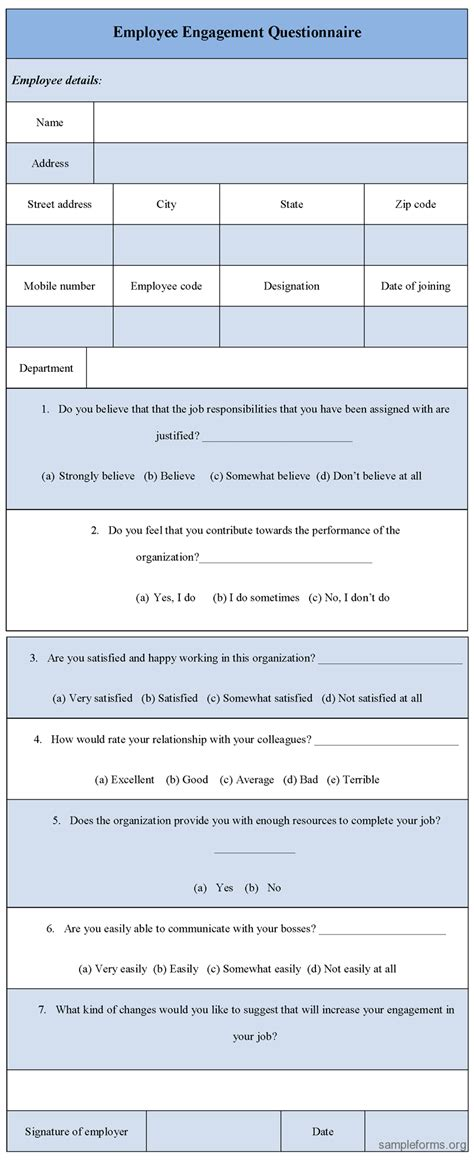 of engagement document template employee engagement questionnaire form sle forms
