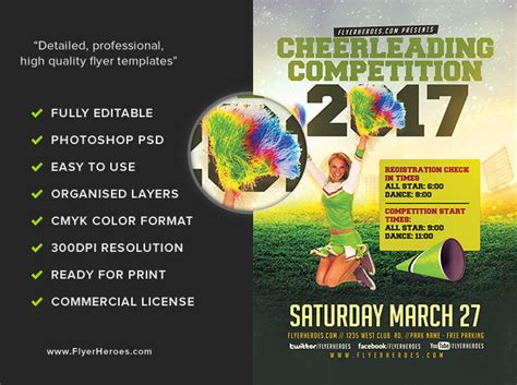 Cheerleading Competition 2017 Flyer Template Flyerheroes Ad Template 2017