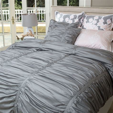 ruched bedding gray ruched duvet set the mirabel gray contemporary
