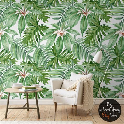 botanical peel and stick wallpaper moonwallstickers com light banana leaves removable wallpaper banana leaf by