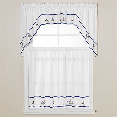 nautical bathroom window curtains buy lighthouse window curtain swag in blue from bed bath