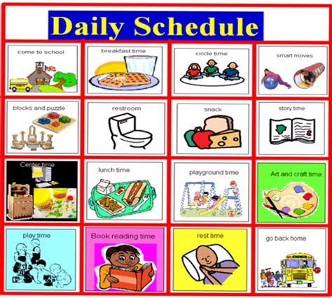 printable daily schedule for autistic child visual schedule template calendar template 2016