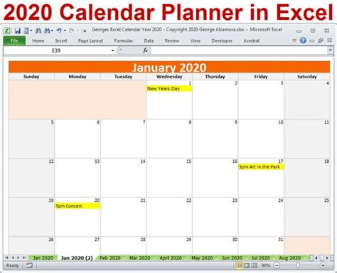 calendar year planner excel template  monthly