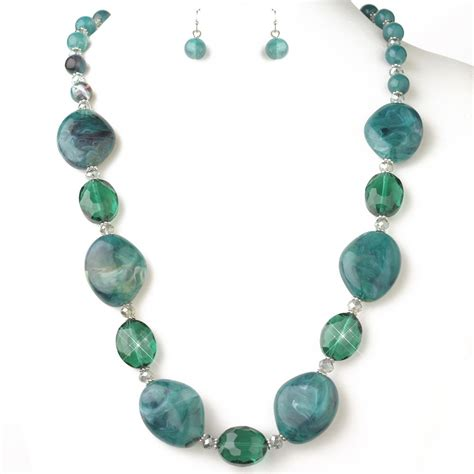 teal green and faceted beaded fashion jewelry set