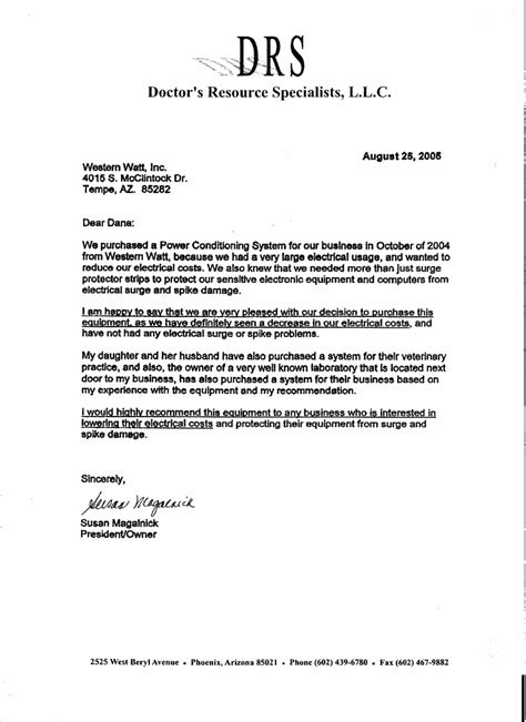 sle of formal letter to doctor testimonials western watt inc