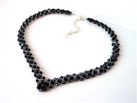 beaded necklace black beaded jewelry necklace prom jewelry by meljoycreations