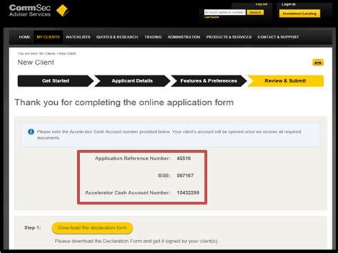 bsb bank account commsec adviser services