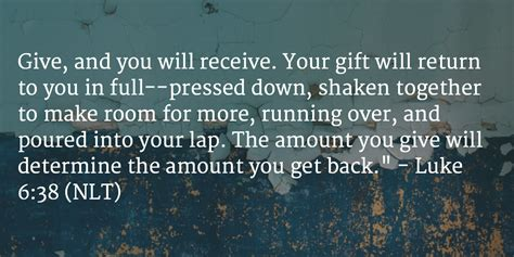 Can U Get Money Back From A Gift Card - daily bible verse and devotion luke 6 38 student devos youth and teenage
