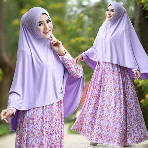 Anggun Syari Lavender baju gamis jersey b105 afifah syar i motif bunga cantik