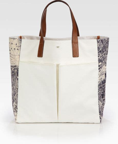 Anya Hindmarch Large Nevis Tote by Anya Hindmarch Nevis Canvas Tote In Beige Multi
