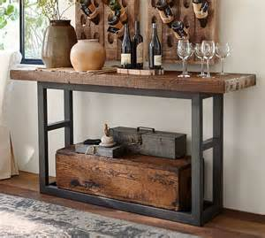 pottery barn wood table griffin reclaimed wood console table pottery barn