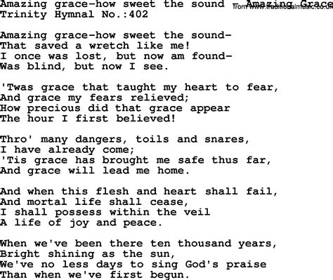 testo grace original amazing grace lyrics and song