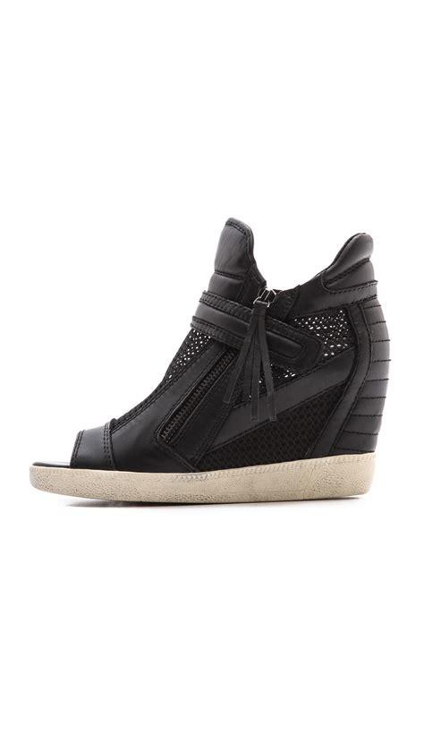 open toe sneaker wedges ash galaxy open toe wedge sneakers mesh black in black lyst