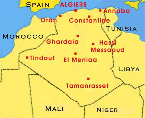 algeria map with cities towns in algeria