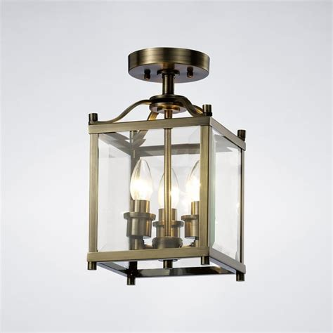 diyas aston 3 light semi flush ceiling lantern in antique