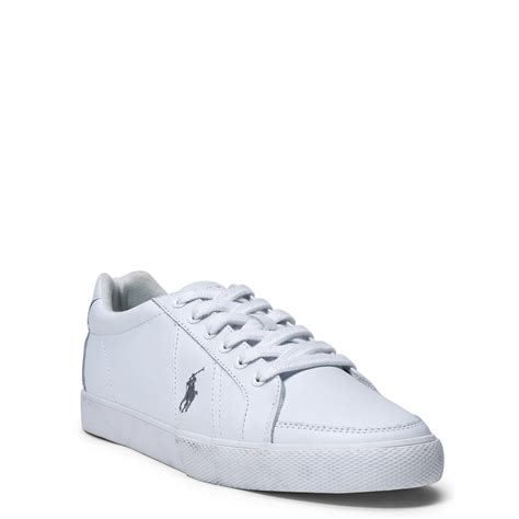 polo white sneakers lyst polo ralph hugh leather sneaker in white for