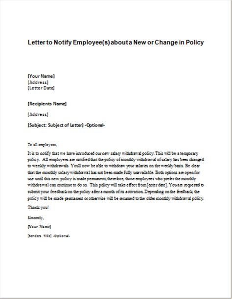 business letter notification business letter notification change name change of