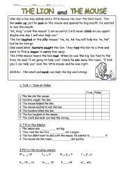 Fables Comprehension Worksheets by Worksheet Fable The And The Mouse 2nd
