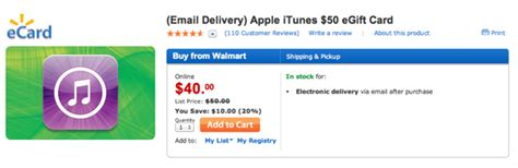 Walmart Itunes Gift Cards - walmart offering selling the 50 itunes gift card for 40