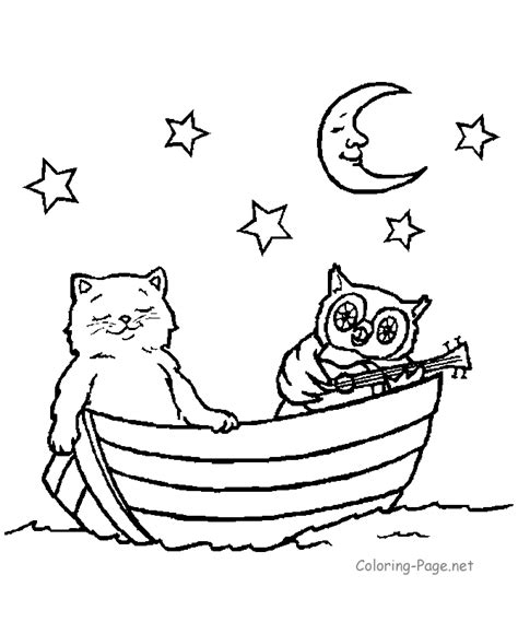 Coloring Book Pages Cat In Rowboat Coloring Page Net