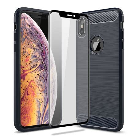olixar sentinel iphone xs with glass screen protector blue