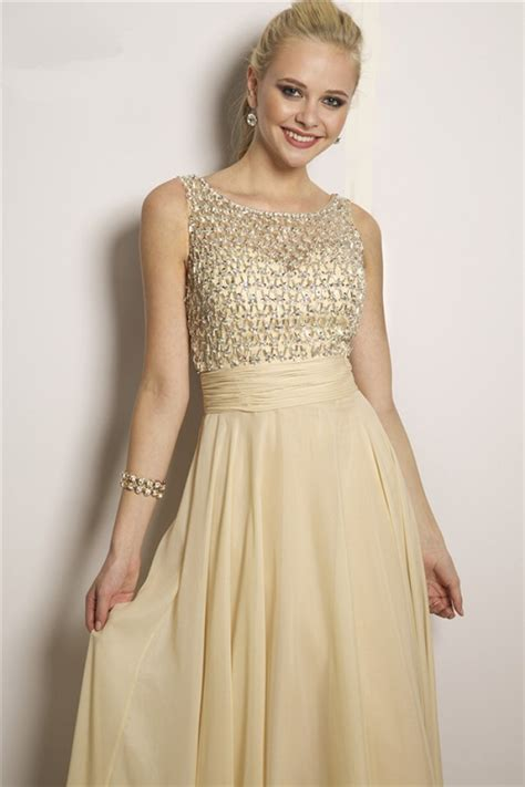 gold beaded prom dress flowing a line bateau neck v back light gold chiffon
