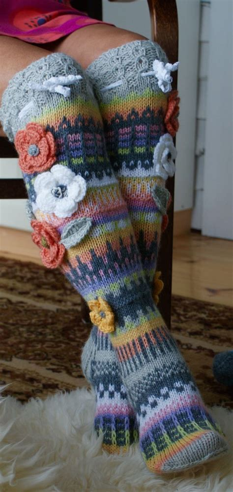 pattern flower socks decorative flowers on knit knee socks knitting