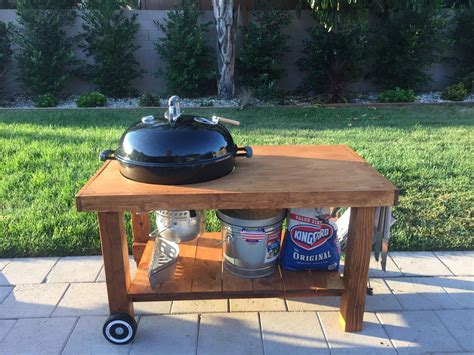 weber grill table plans weber kettle table diy bbq