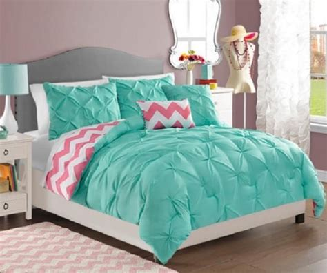 turquoise pink and white bedroom teen girls turquoise pink white reversible pintuck chevron