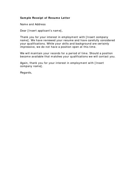 thank you letter for resume received 28 images resume templates free for high school